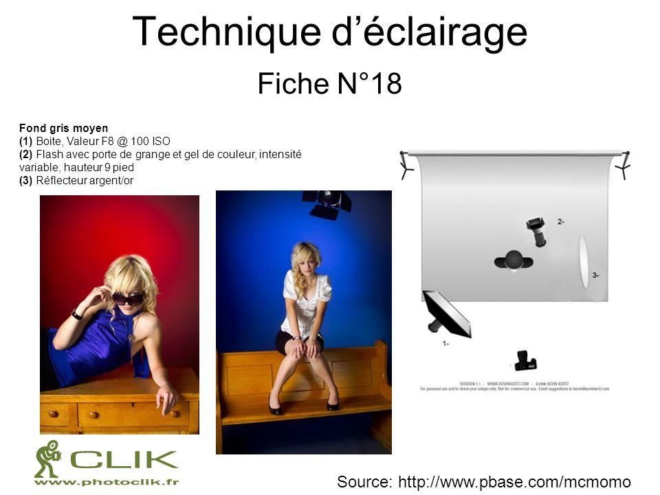 Technique déclairage Fiche N°18 Fond gris moyen (1) Boite, Valeur F8 @ 100 ISO (2) Flash avec porte de grange et gel de couleur, intensité variable, h