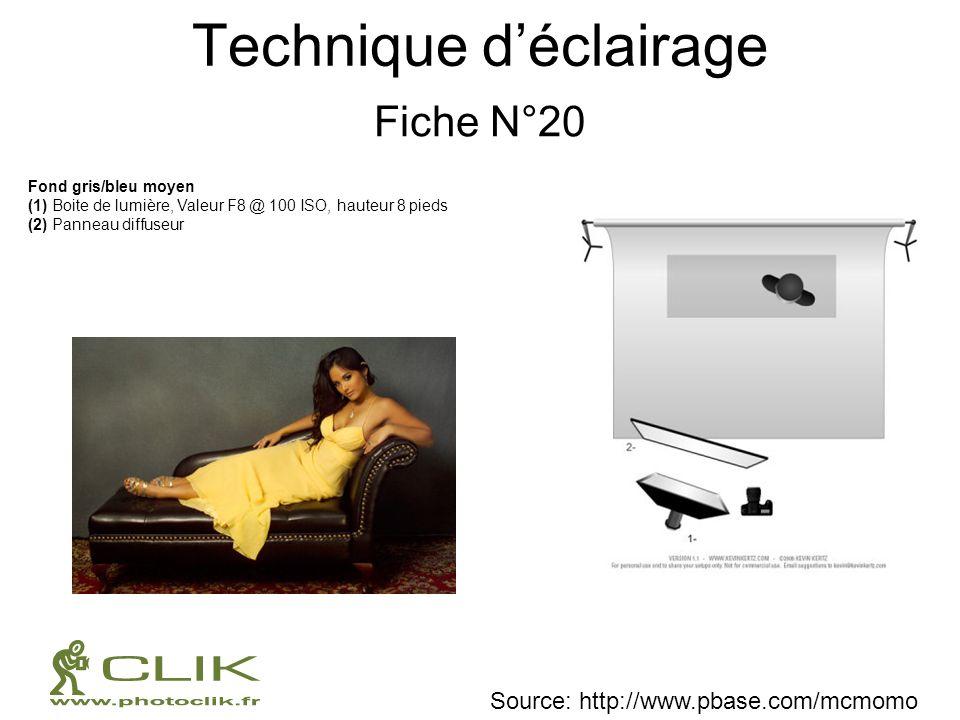 Technique déclairage Fiche N°20 Fond gris/bleu moyen (1) Boite de lumière, Valeur F8 @ 100 ISO, hauteur 8 pieds (2) Panneau diffuseur Source: http://w
