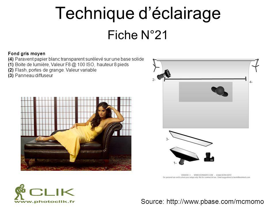 Technique déclairage Fiche N°21 Fond gris moyen (4) Paravent papier blanc transparent surélevé sur une base solide (1) Boite de lumière, Valeur F8 @ 1
