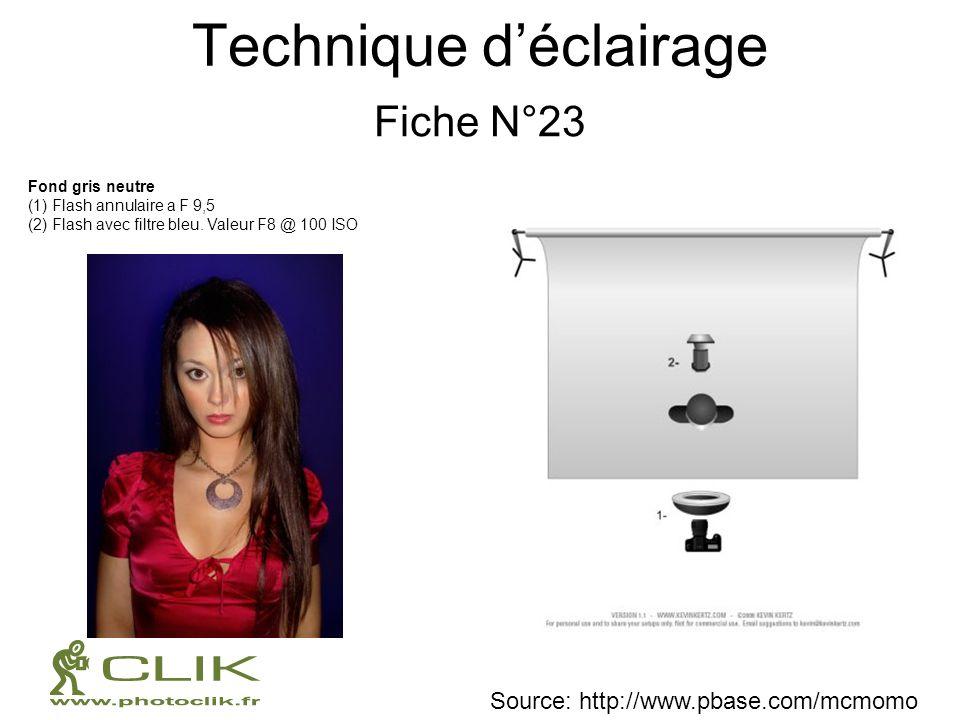 Technique déclairage Fiche N°23 Fond gris neutre (1) Flash annulaire a F 9,5 (2) Flash avec filtre bleu. Valeur F8 @ 100 ISO Source: http://www.pbase.