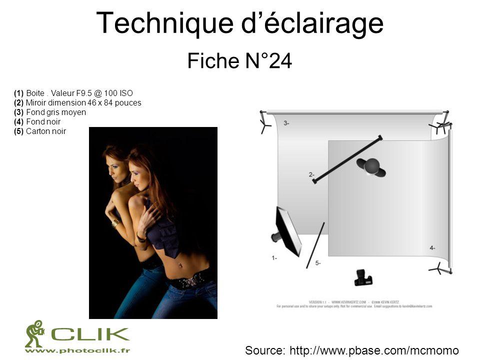 Technique déclairage Fiche N°24 (1) Boite. Valeur F9.5 @ 100 ISO (2) Miroir dimension 46 x 84 pouces (3) Fond gris moyen (4) Fond noir (5) Carton noir