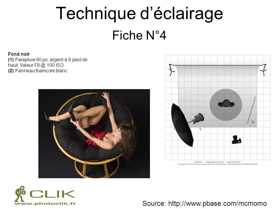 Technique déclairage Fiche N°4 Fond noir (1) Parapluie 60 po. argent à 9 pied de haut. Valeur F8 @ 100 ISO (2) Panneau foamcore blanc Source: http://w