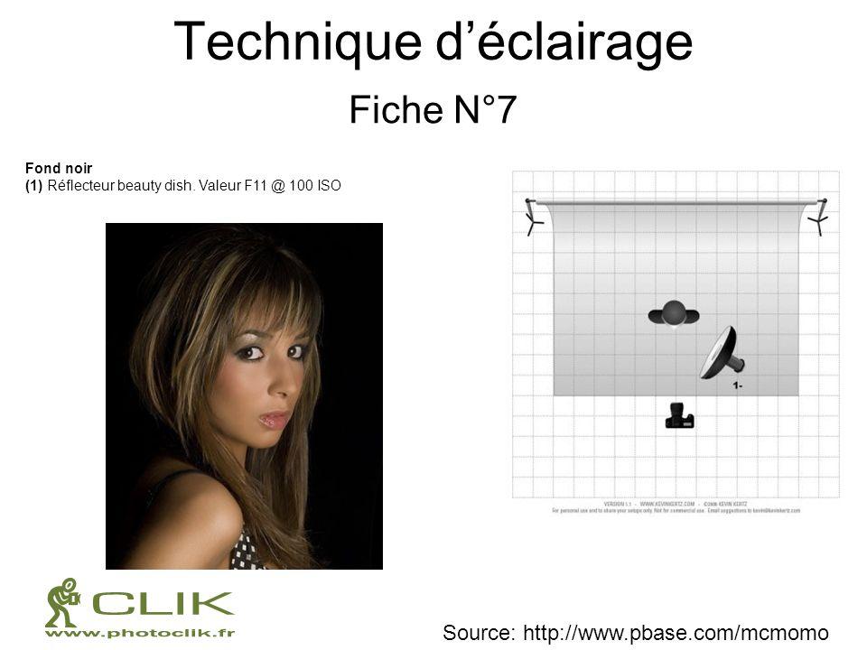Technique déclairage Fiche N°7 Source: http://www.pbase.com/mcmomo Fond noir (1) Réflecteur beauty dish. Valeur F11 @ 100 ISO
