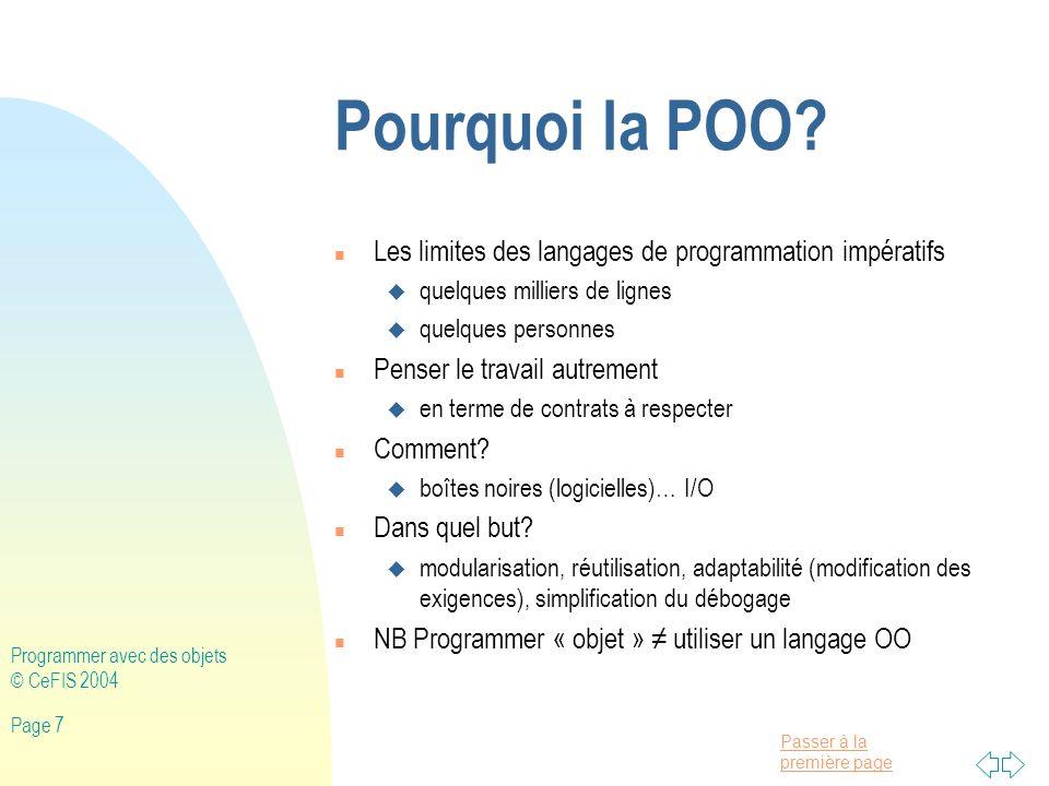 Passer à la première page Programmer avec des objets © CeFIS 2004 Page 208 import java.awt.*; import java.awt.event.*; import javax.swing.*; import javax.swing.event.*; public class AppletBoutons extends JApplet implements ActionListener{ private JPanel panneau, panneauCommande; private JButton b1, b2; public void init(){ panneau=new JPanel(); panneauCommande=new JPanel(); Container c=getContentPane(); c.add(panneau); c.add(panneauCommande, South ); b1=new JButton( green ); b2=new JButton( red ); b1.addActionListener(this); b2.addActionListener(this); panneauCommande.add(b1); panneauCommande.add(b2); panneau.setVisible(true); } public void actionPerformed(ActionEvent ae){ if (ae.getSource()==b1){ panneau.setBackground(Color.green); } else{ panneau.setBackground(Color.red); }