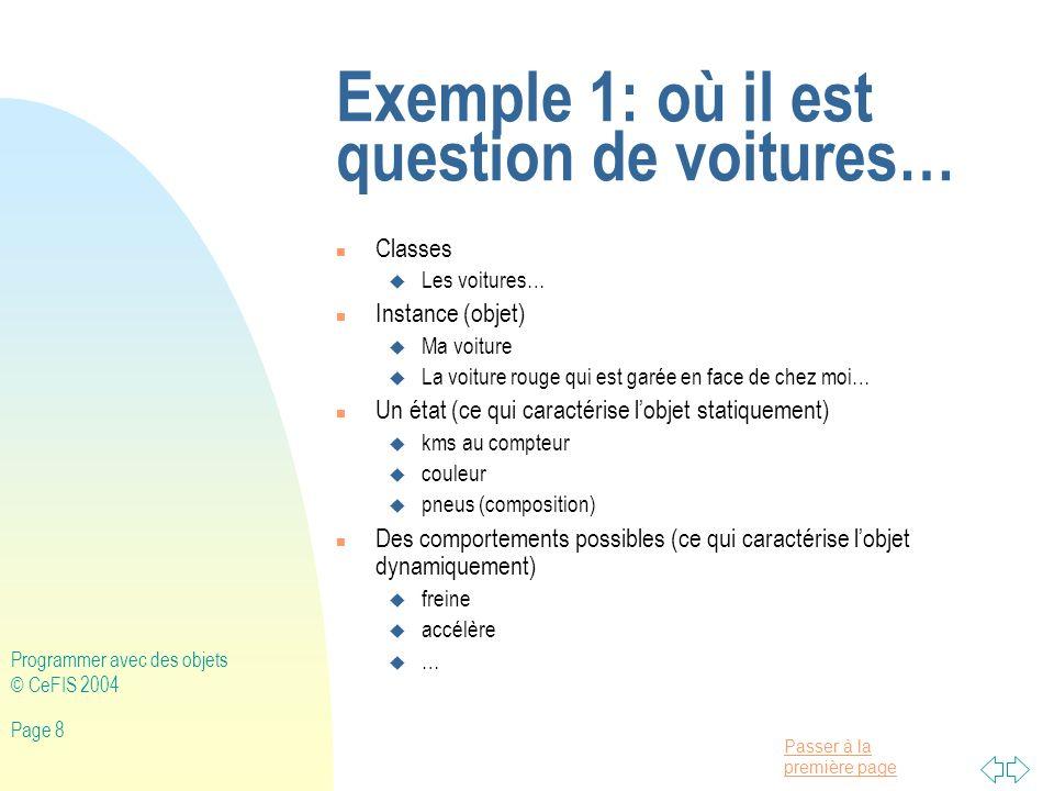 Passer à la première page Programmer avec des objets © CeFIS 2004 Page 59 Description des classes NomClasse Champs (+accès) Méthodes (+accès) Application + main() PrintStream +println() Point -x: reel -y: reel + getAbscisse() reel + getOrdonnee() reel + setAbscisse(a: reel) + setOrdonnee(b: reel) + distanceJusque(p:Point):reel Math +sqrt(a: reel) reel