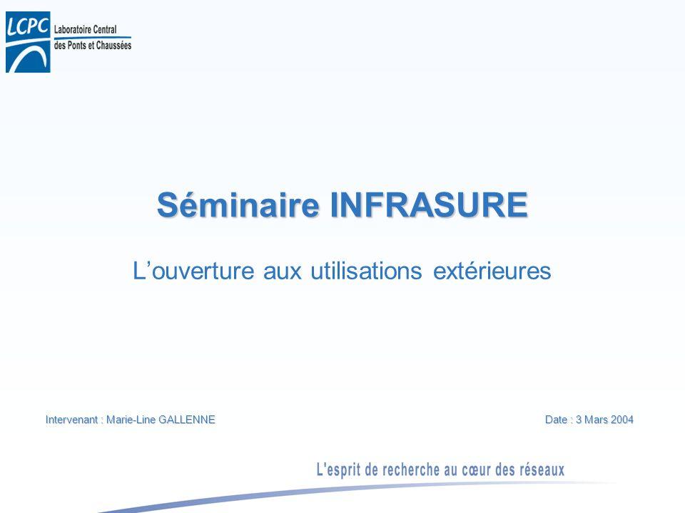 Séminaire INFRASURE Louverture aux utilisations extérieures Intervenant : Marie-Line GALLENNE Date : 3 Mars 2004