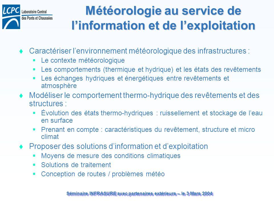 Séminaire INFRASURE avec partenaires extérieurs – le 3 Mars 2004 Météorologie au service de linformation et de lexploitation Caractériser lenvironneme