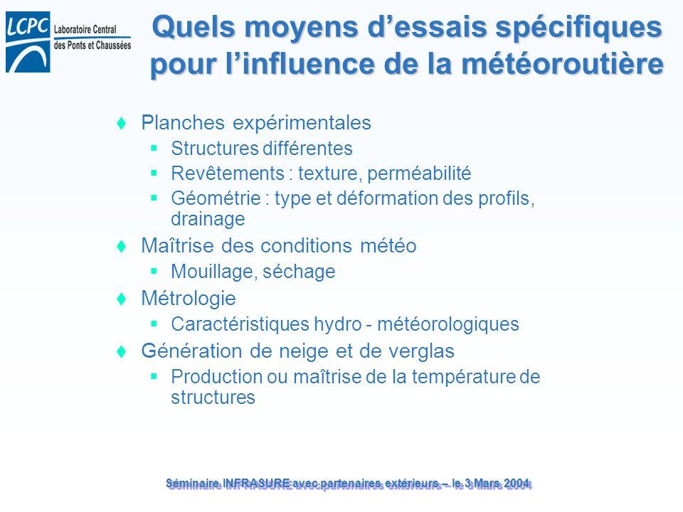 Séminaire INFRASURE avec partenaires extérieurs – le 3 Mars 2004 Quels moyens dessais spécifiques pour linfluence de la météoroutière Planches expérim