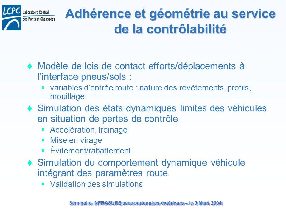 Séminaire INFRASURE avec partenaires extérieurs – le 3 Mars 2004 Adhérence et géométrie au service de la contrôlabilité Modèle de lois de contact effo