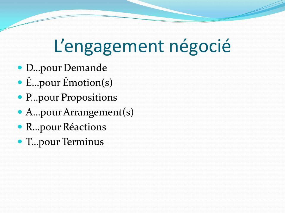 Lengagement négocié D…pour Demande É…pour Émotion(s) P…pour Propositions A…pour Arrangement(s) R…pour Réactions T…pour Terminus
