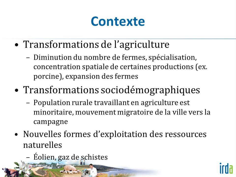 Contexte Transformations de lagriculture –Diminution du nombre de fermes, spécialisation, concentration spatiale de certaines productions (ex.