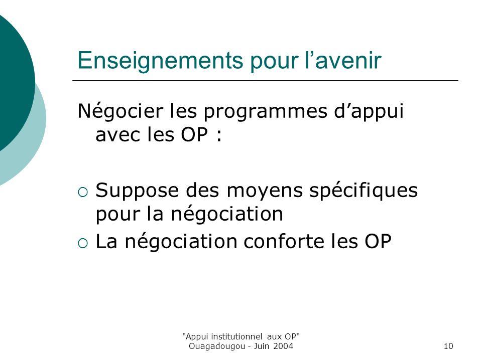 Appui institutionnel aux OP Ouagadougou - Juin 200410 Enseignements pour lavenir Négocier les programmes dappui avec les OP : Suppose des moyens spécifiques pour la négociation La négociation conforte les OP