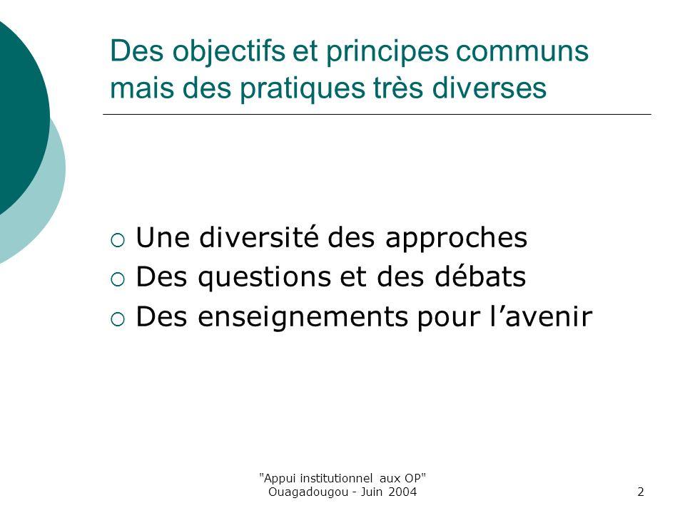 Appui institutionnel aux OP Ouagadougou - Juin 20042 Des objectifs et principes communs mais des pratiques très diverses Une diversité des approches Des questions et des débats Des enseignements pour lavenir