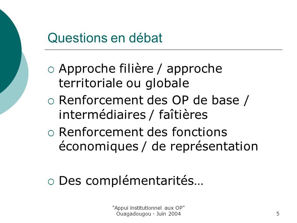 Appui institutionnel aux OP Ouagadougou - Juin 20045 Questions en débat Approche filière / approche territoriale ou globale Renforcement des OP de base / intermédiaires / faîtières Renforcement des fonctions économiques / de représentation Des complémentarités…