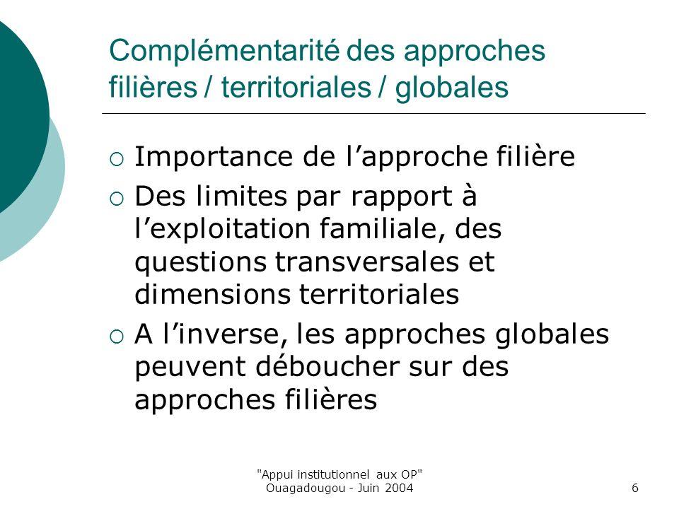 Appui institutionnel aux OP Ouagadougou - Juin 20046 Complémentarité des approches filières / territoriales / globales Importance de lapproche filière Des limites par rapport à lexploitation familiale, des questions transversales et dimensions territoriales A linverse, les approches globales peuvent déboucher sur des approches filières
