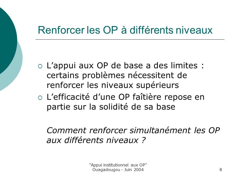 Appui institutionnel aux OP Ouagadougou - Juin 20048 Renforcer les OP à différents niveaux Lappui aux OP de base a des limites : certains problèmes nécessitent de renforcer les niveaux supérieurs Lefficacité dune OP faîtière repose en partie sur la solidité de sa base Comment renforcer simultanément les OP aux différents niveaux