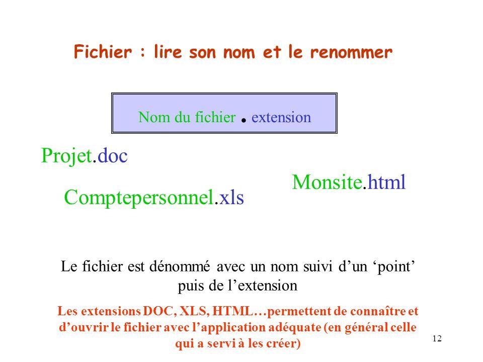 12 Fichier : lire son nom et le renommer Nom du fichier.