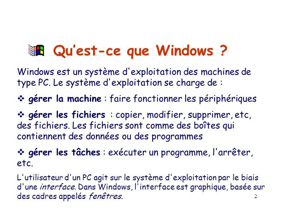 2 Quest-ce que Windows .Windows est un système d exploitation des machines de type PC.