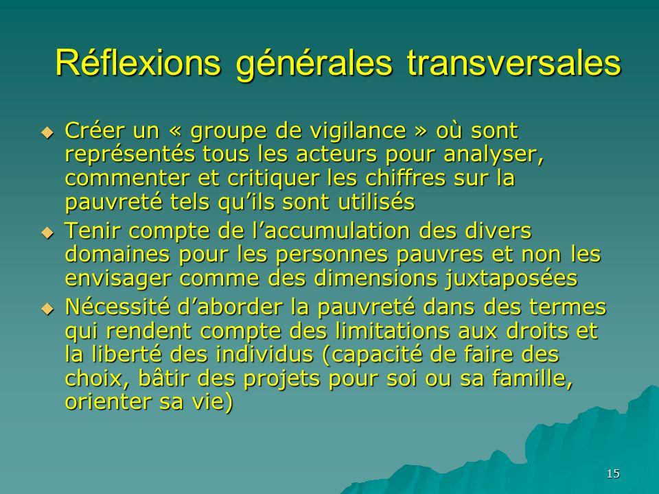 15 Réflexions générales transversales Créer un « groupe de vigilance » où sont représentés tous les acteurs pour analyser, commenter et critiquer les