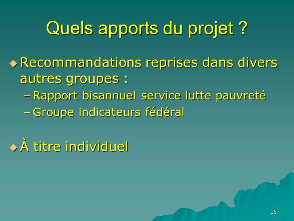 16 Quels apports du projet ? Recommandations reprises dans divers autres groupes : Recommandations reprises dans divers autres groupes : –Rapport bisa