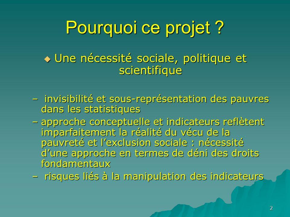 2 Pourquoi ce projet ? Une nécessité sociale, politique et scientifique Une nécessité sociale, politique et scientifique – invisibilité et sous-représ