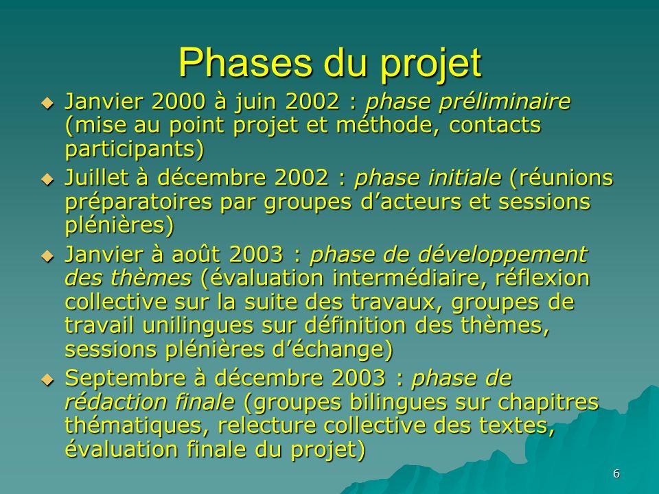 6 Phases du projet Janvier 2000 à juin 2002 : phase préliminaire (mise au point projet et méthode, contacts participants) Janvier 2000 à juin 2002 : p