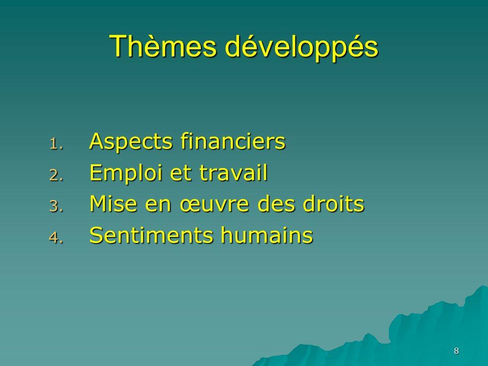 8 Thèmes développés 1. Aspects financiers 2. Emploi et travail 3. Mise en œuvre des droits 4. Sentiments humains