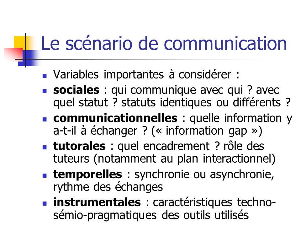 Le scénario de communication Variables importantes à considérer : sociales : qui communique avec qui ? avec quel statut ? statuts identiques ou différ