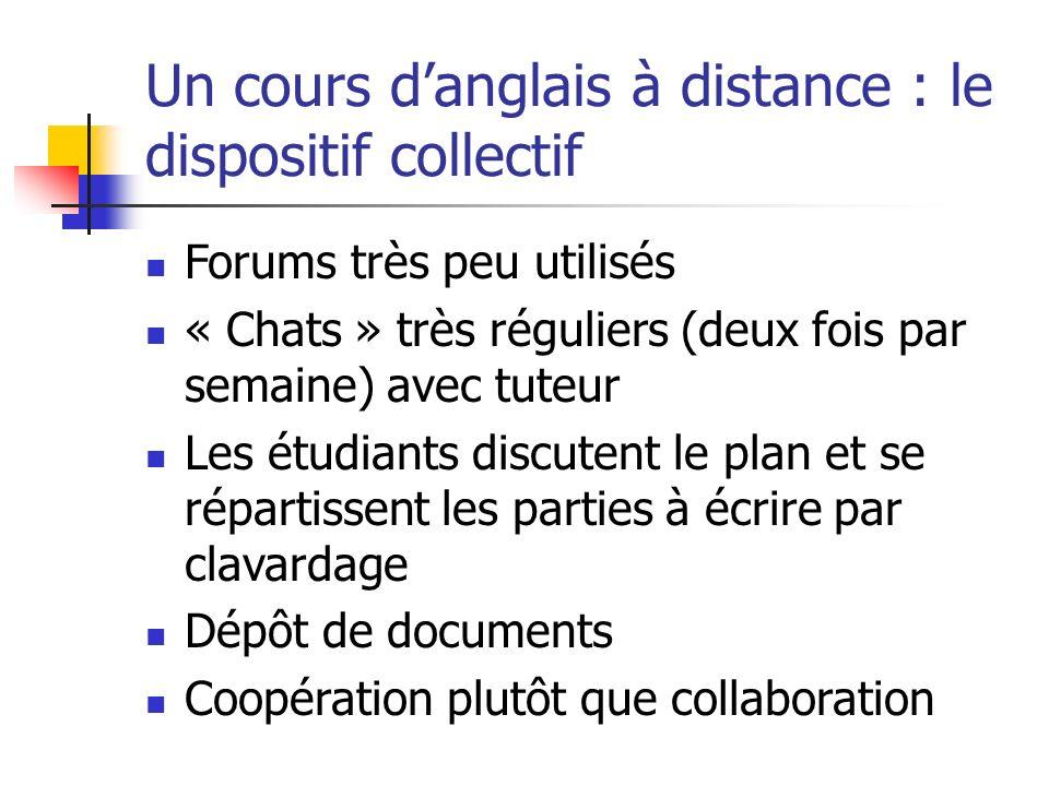 Un cours danglais à distance : le dispositif collectif Forums très peu utilisés « Chats » très réguliers (deux fois par semaine) avec tuteur Les étudi