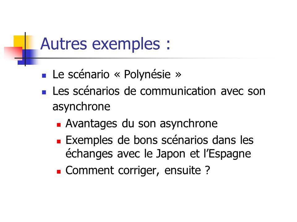 Autres exemples : Le scénario « Polynésie » Les scénarios de communication avec son asynchrone Avantages du son asynchrone Exemples de bons scénarios