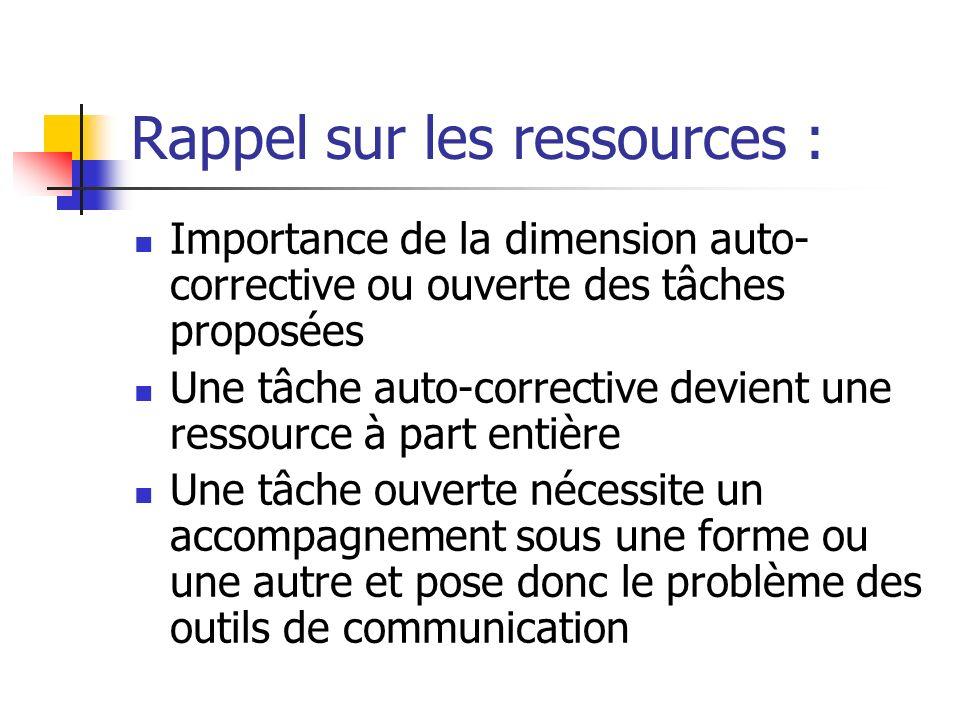 Rappel sur les ressources : Importance de la dimension auto- corrective ou ouverte des tâches proposées Une tâche auto-corrective devient une ressourc