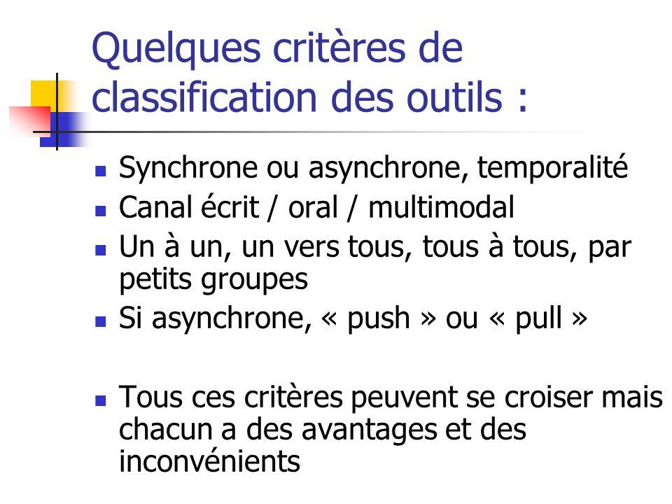 Quelques critères de classification des outils : Synchrone ou asynchrone, temporalité Canal écrit / oral / multimodal Un à un, un vers tous, tous à to