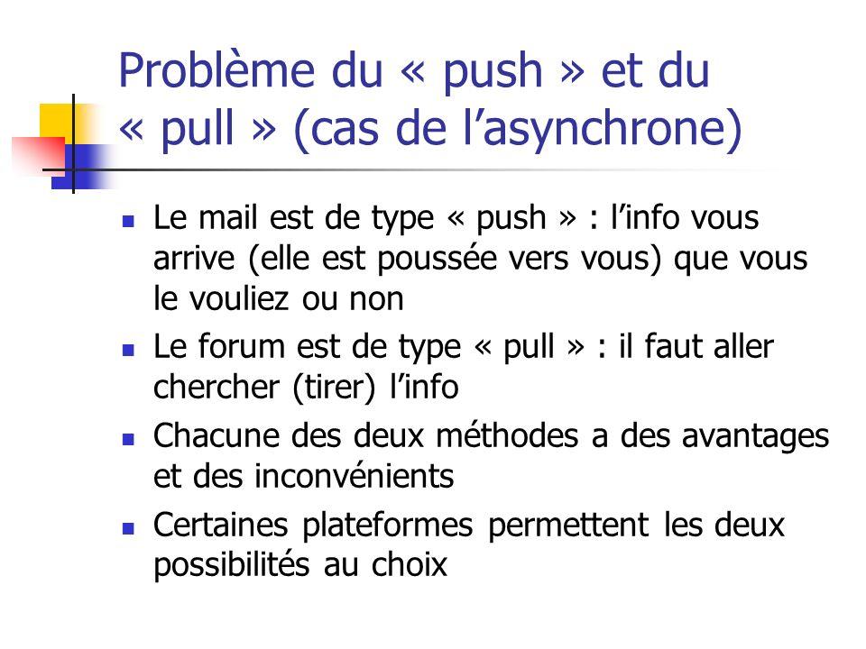 Problème du « push » et du « pull » (cas de lasynchrone) Le mail est de type « push » : linfo vous arrive (elle est poussée vers vous) que vous le vou