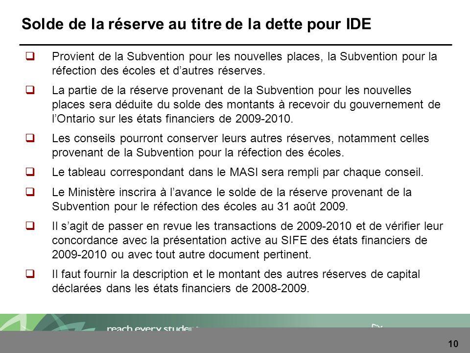 10 Solde de la réserve au titre de la dette pour IDE Provient de la Subvention pour les nouvelles places, la Subvention pour la réfection des écoles e