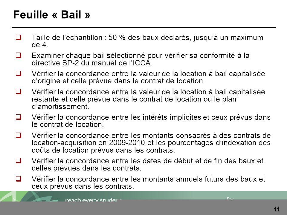 11 Feuille « Bail » Taille de léchantillon : 50 % des baux déclarés, jusquà un maximum de 4. Examiner chaque bail sélectionné pour vérifier sa conform