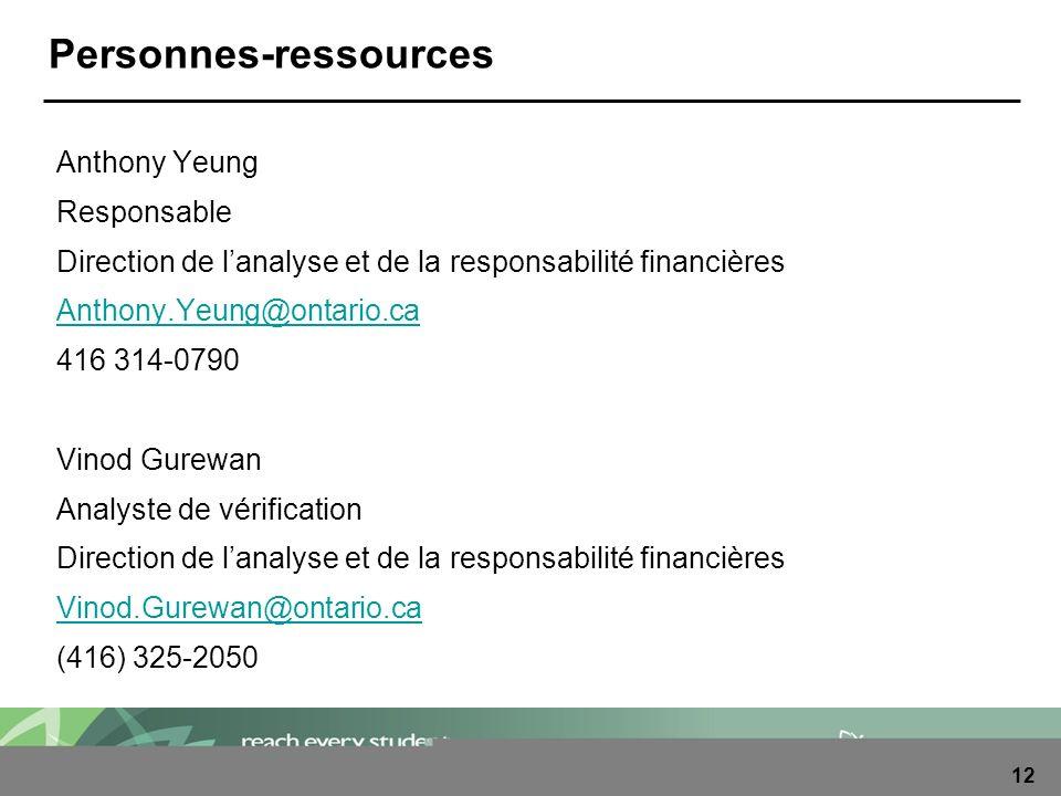 12 Personnes-ressources Anthony Yeung Responsable Direction de lanalyse et de la responsabilité financières Anthony.Yeung@ontario.ca 416 314-0790 Vino