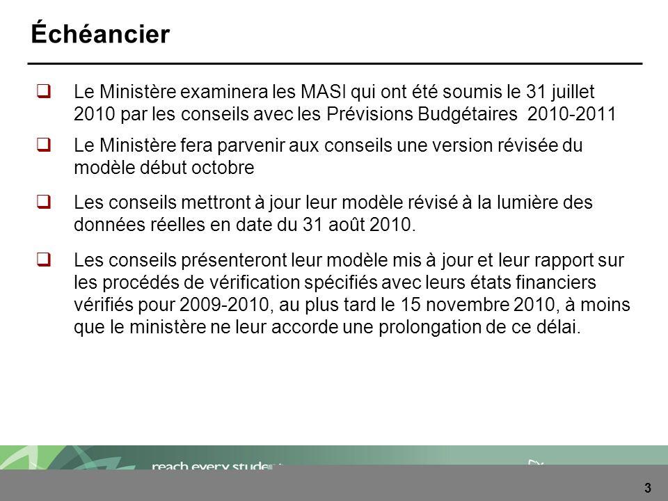 3 Échéancier Le Ministère examinera les MASI qui ont été soumis le 31 juillet 2010 par les conseils avec les Prévisions Budgétaires 2010-2011 Le Minis