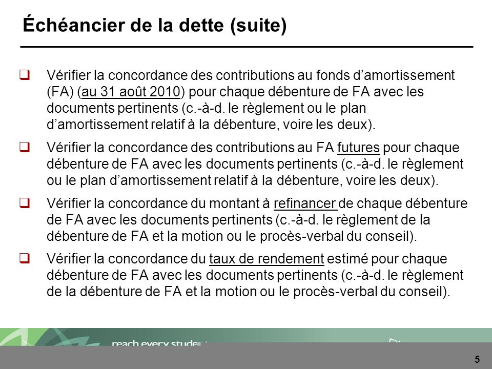 5 Échéancier de la dette (suite) Vérifier la concordance des contributions au fonds damortissement (FA) (au 31 août 2010) pour chaque débenture de FA avec les documents pertinents (c.-à-d.