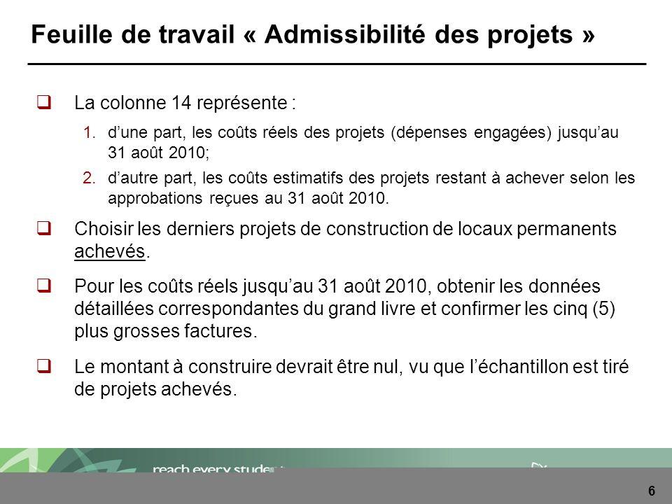 6 Feuille de travail « Admissibilité des projets » La colonne 14 représente : 1.dune part, les coûts réels des projets (dépenses engagées) jusquau 31