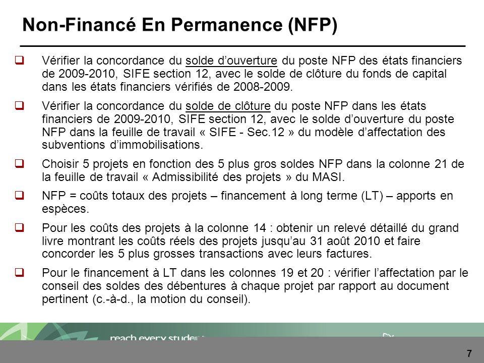 7 Non-Financé En Permanence (NFP) Vérifier la concordance du solde douverture du poste NFP des états financiers de 2009-2010, SIFE section 12, avec le solde de clôture du fonds de capital dans les états financiers vérifiés de 2008-2009.