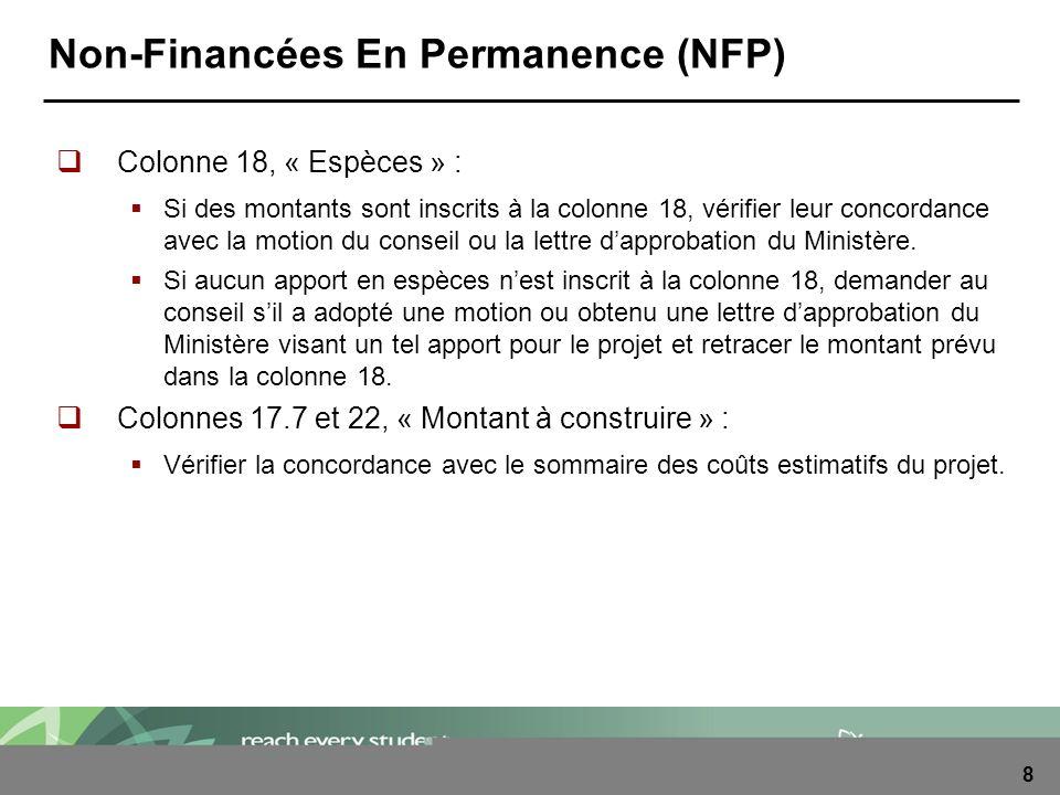 8 Non-Financées En Permanence (NFP) Colonne 18, « Espèces » : Si des montants sont inscrits à la colonne 18, vérifier leur concordance avec la motion du conseil ou la lettre dapprobation du Ministère.