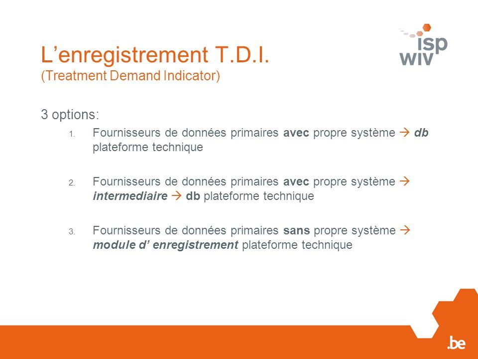 Plateforme technique Front-office - Module d autorisation (avec plateforme E-Health) - Module pour encryption du NISS (avec plateforme E-Health) - Module de lenregistrement (option 3) - Module de dépôt (options 1 & 2) - Avec transformation des données en format d échange - Avec un retour d information de la qualité Back-office - Composition dun db TDI-master db EMCDDA - Envoi des données (EMCDDA, INAMI) à lISP