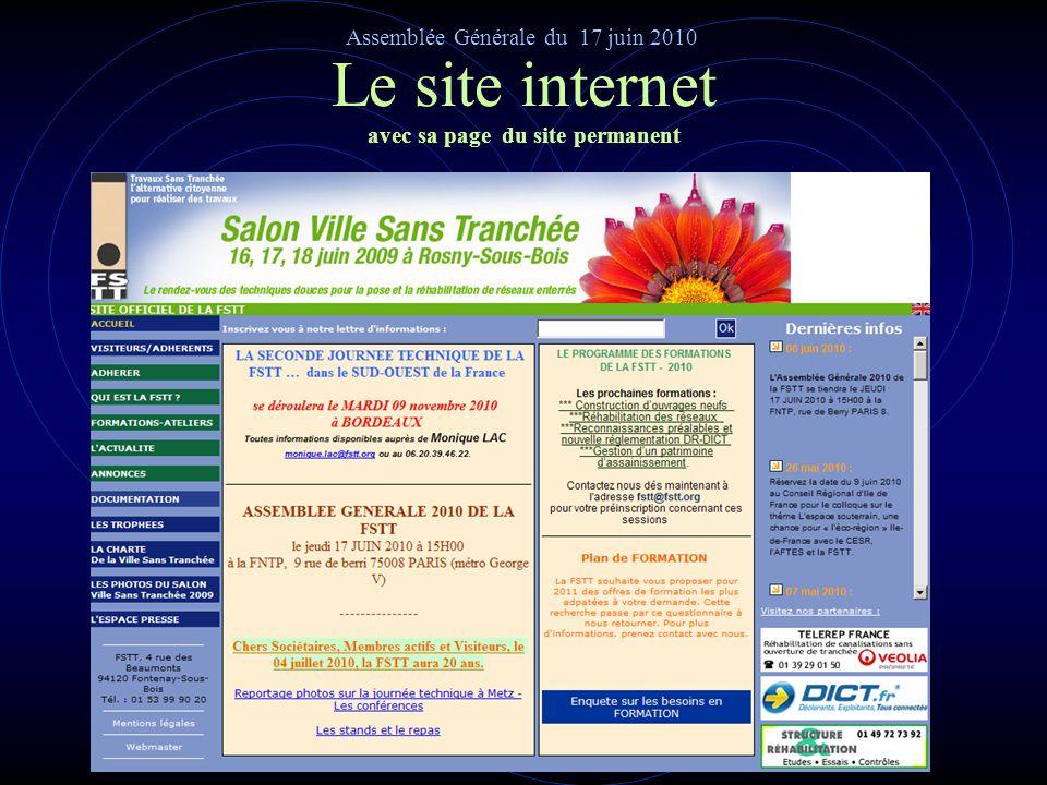 Le site internet de la FSTT avec sa nouvelle page daccueil Assemblée Générale du 17 juin 2010