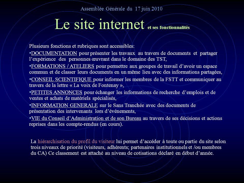 Le site internet avec sa page du site permanent Assemblée Générale du 17 juin 2010