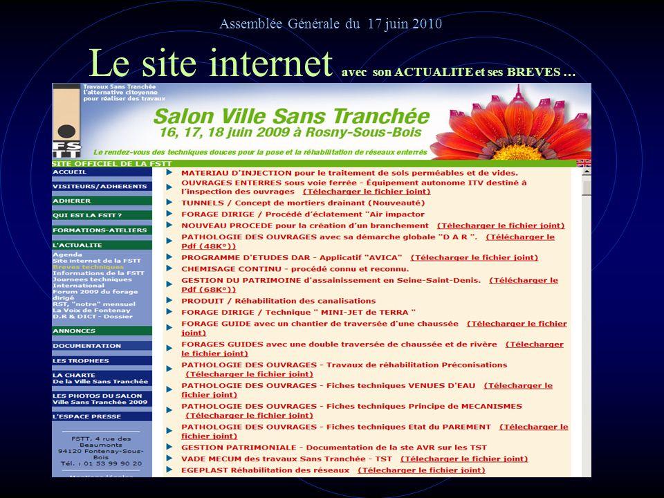Le site internet avec sa DOCUMENTATION Assemblée Générale du 17 juin 2010