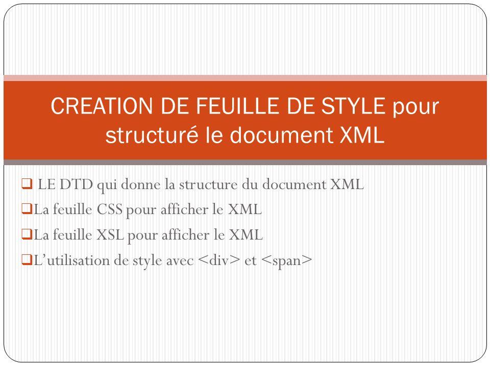 LE DTD qui donne la structure du document XML La feuille CSS pour afficher le XML La feuille XSL pour afficher le XML Lutilisation de style avec et CREATION DE FEUILLE DE STYLE pour structuré le document XML
