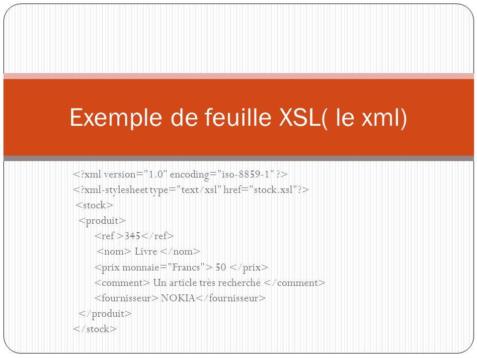 345 Livre 50 Un article très recherché NOKIA Exemple de feuille XSL( le xml)