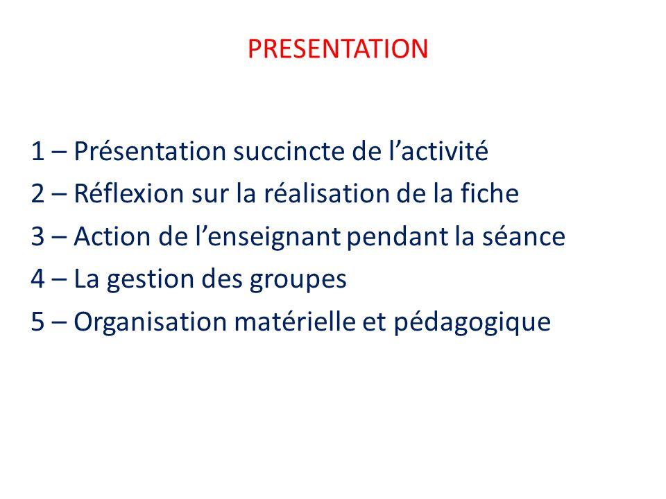 PRESENTATION 1 – Présentation succincte de lactivité 2 – Réflexion sur la réalisation de la fiche 3 – Action de lenseignant pendant la séance 4 – La g