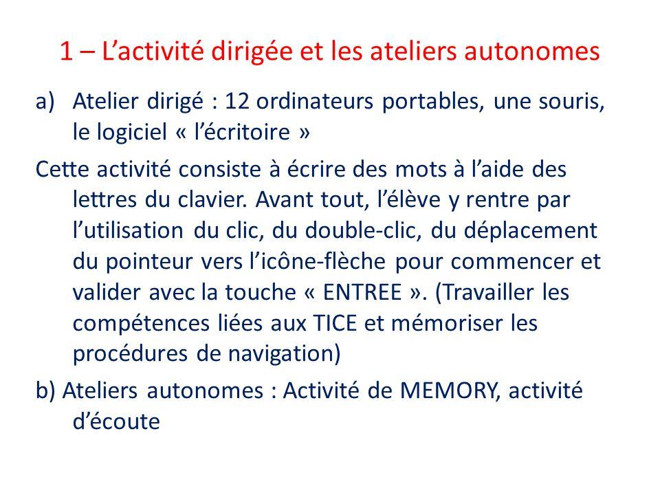 1 – Lactivité dirigée et les ateliers autonomes a)Atelier dirigé : 12 ordinateurs portables, une souris, le logiciel « lécritoire » Cette activité con