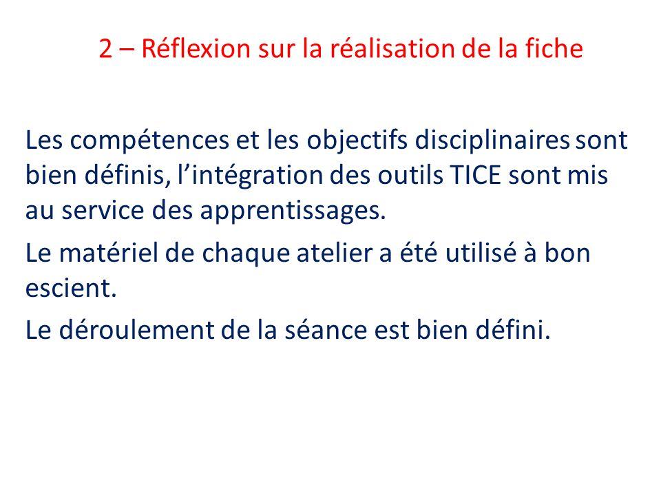 2 – Réflexion sur la réalisation de la fiche Les compétences et les objectifs disciplinaires sont bien définis, lintégration des outils TICE sont mis
